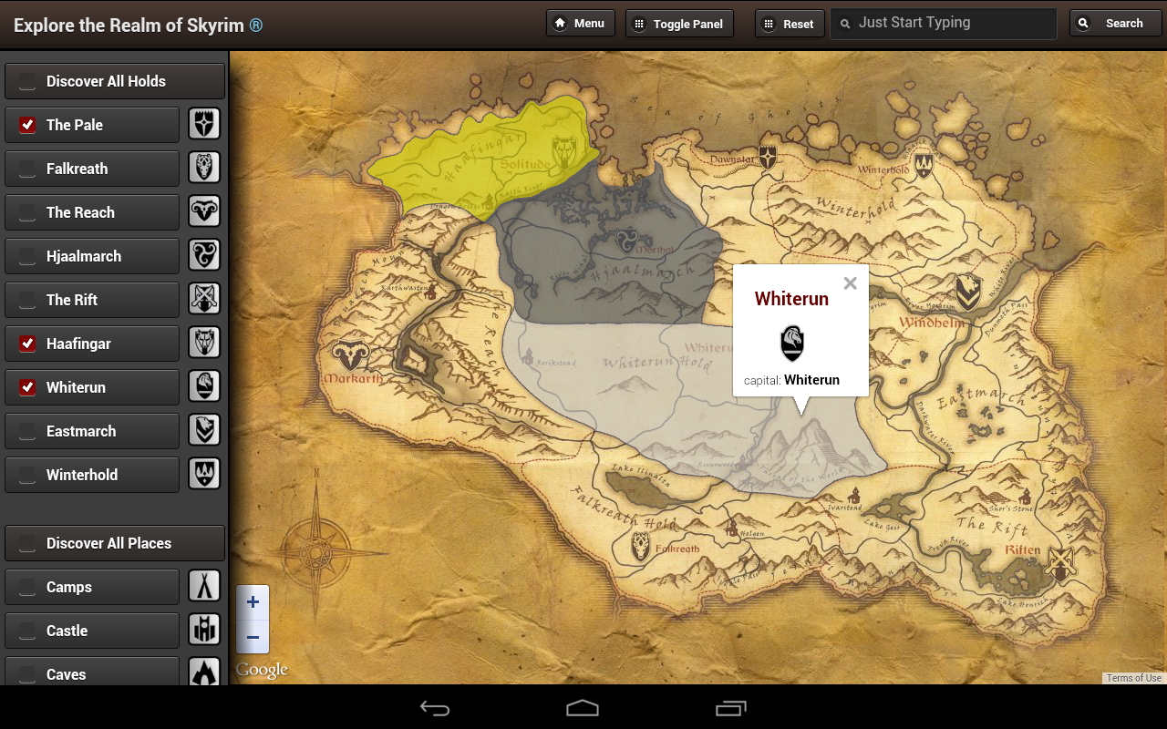 Amazoncom Skyrim Map HD Appstore for Android