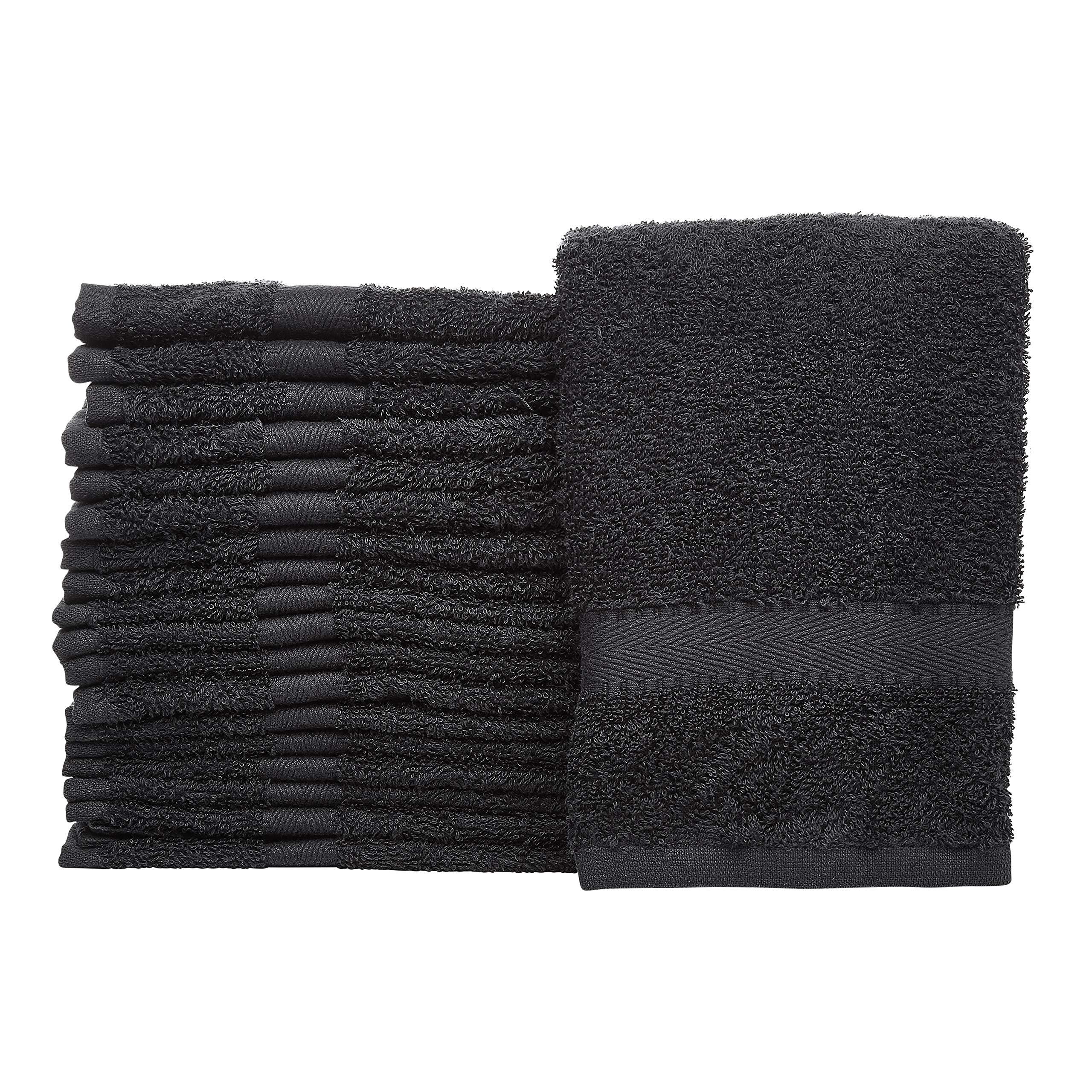 Linteum Textile (24-Pack, 16x27 in, Black) Bleach Proof Hand Towel - Bleach Safe Salon & Gym Towels, 100% Cotton