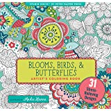 Blooms, Birds, and Butterflies Adult Coloring Book (31 stress-relieving designs) (Studio Series Artist's Coloring Book)