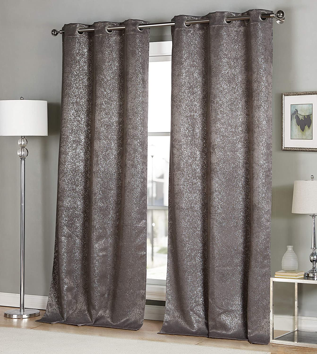 38x96 2 Pieces Duck River Solid Blackout Curtain for Bedroom Mouse