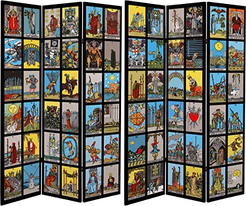 ORIENTAL Furniture Tall Double Sided Tarot Canvas Room Divider, 6
