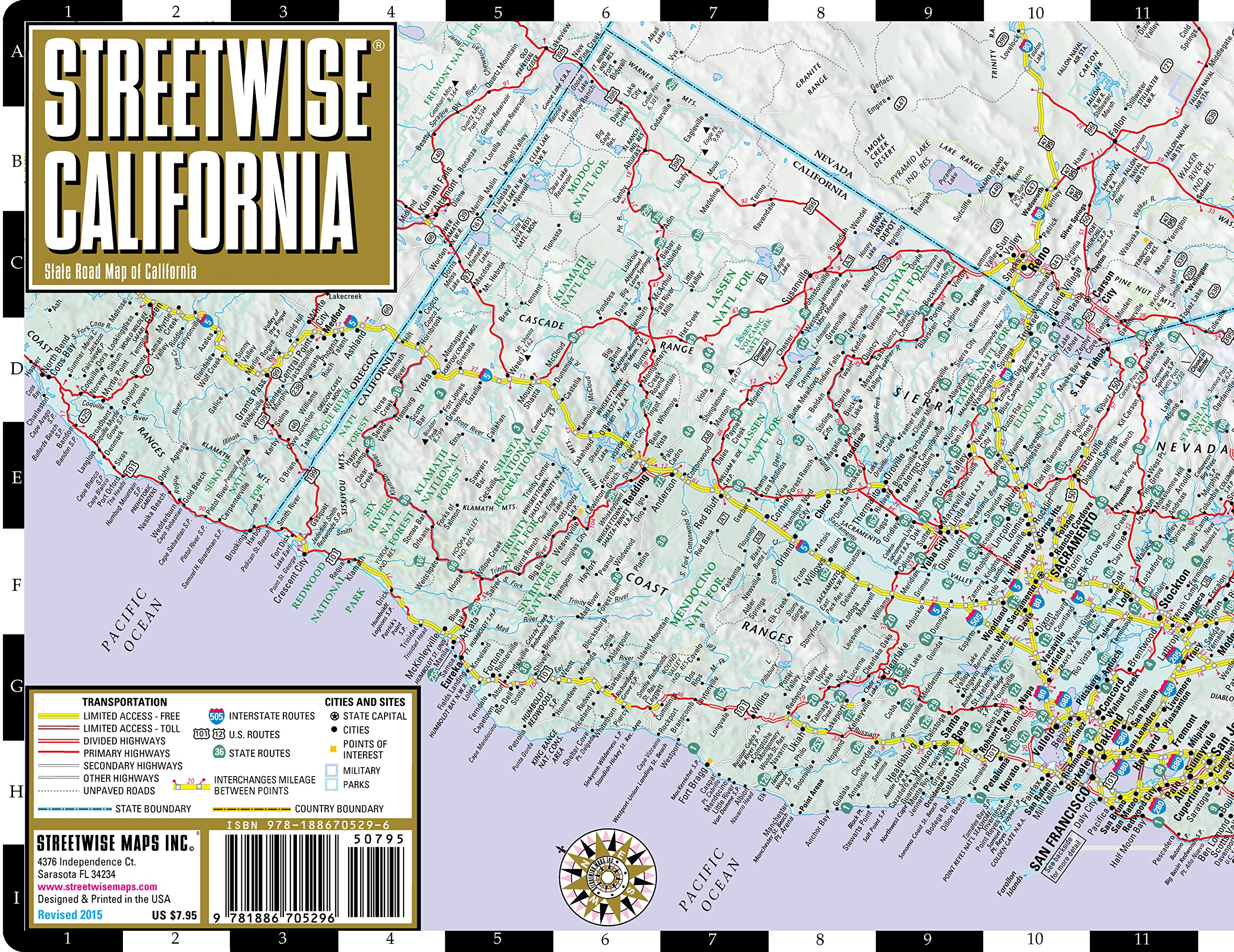 Streetwise California Map Laminated State Road Map Of California Streetwise Maps 9781886705296 Amazon Com Books