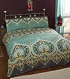 Asha Set Copripiumino Matrimoniale e 2;federe design indiano, color smeraldo, set biancheria da letto, colore verde/foglia di tè, letto king size