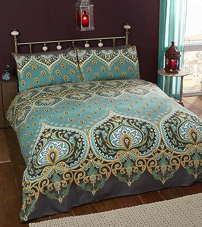 Biancheria Da Letto King Size.Asha Set Copripiumino Matrimoniale E 2 Federe Design Indiano Color