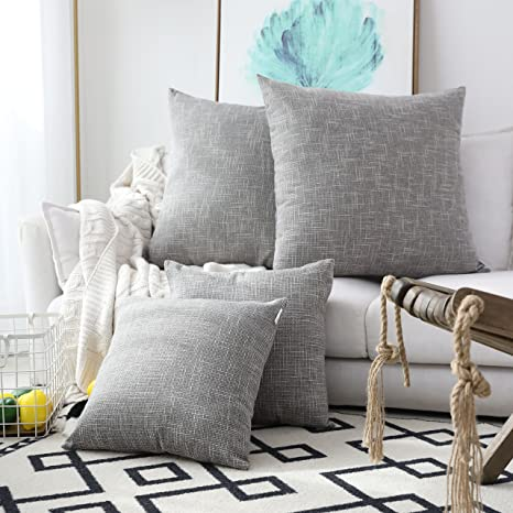 Amazon Com Kevin Textile 2 Pack Decorative Linen Throw Pillow Covers Outdoor Pillows Cover Large Cushion Case For Couch Chair 24 X 24 Inches 61cm Grey Home Kitchen