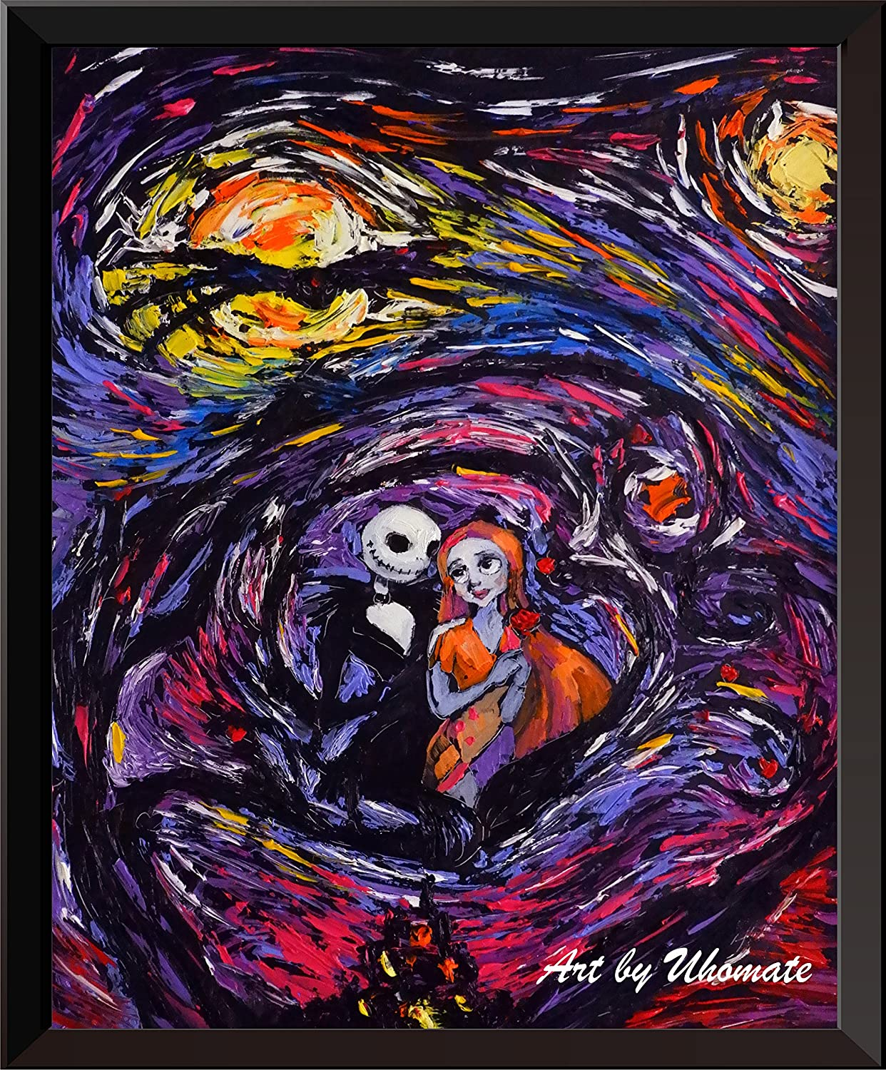 Uhomate Jack Sally Jack and Sally Nightmare Before Christmas Vincent Van Gogh Starry Night Posters Home Canvas Wall Art Baby Gift Nursery Decor Living Room Wall Decor A016 (18X24)
