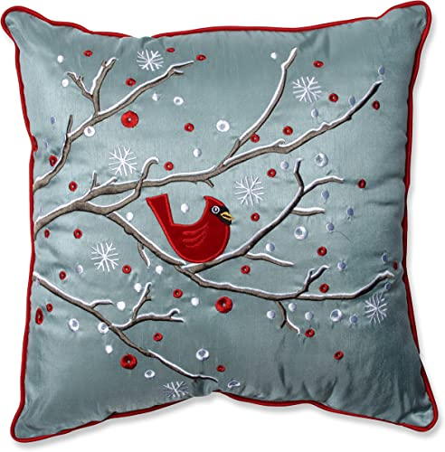Pillow Perfect Holiday Cardinal on Snowy Branch Throw Pillow, 16.5 x 16.5 , Silver Red