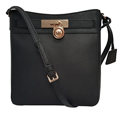 a4b614ed6521 Amazon.com: Michael Kors Hamilton Traveler Messenger Safiano Leather  Crossbody Bag Black: Shoes