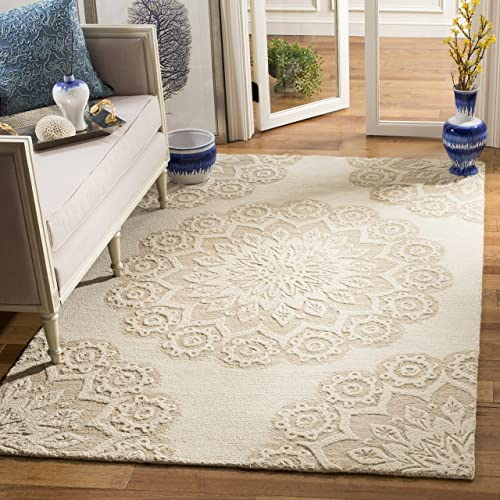 Safavieh Blossom Collection BLM108B Ivory and Beige Premium Wool Area Rug 8' x 10'