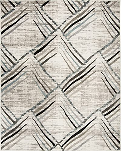 Safavieh Amsterdam Collection Cream and Charcoal Area Rug, 8 x 10