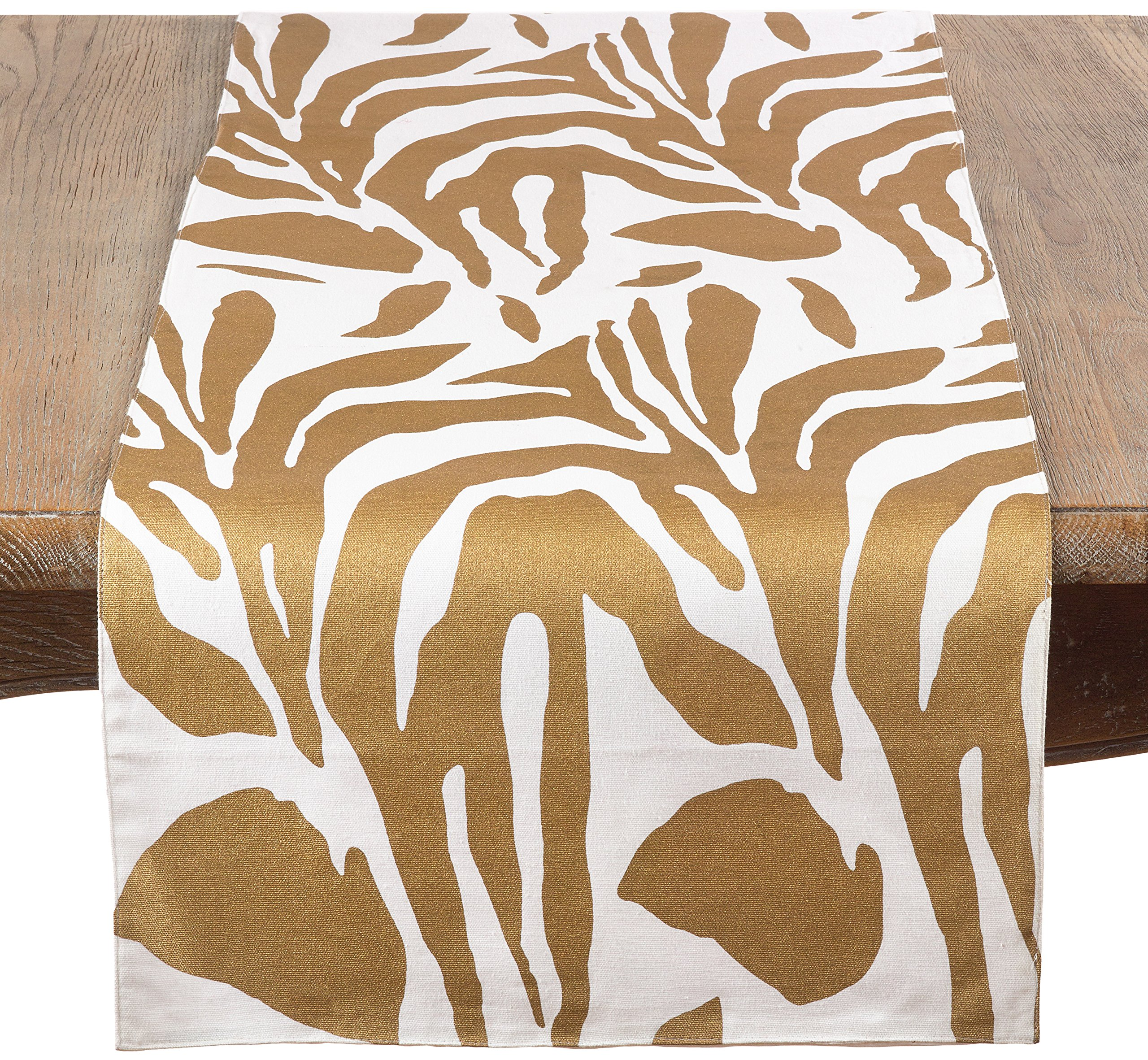 Saro LifeStyle 3575.GL1672B Metallic Animal Print Table Runner, Gold, 16''x72''