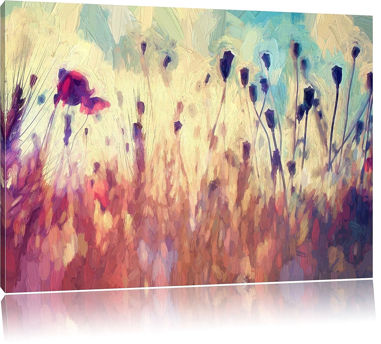 Mohn im Weizenfeld Kunst Pinsel Effekt, Format: 120x80 auf Leinwand ...