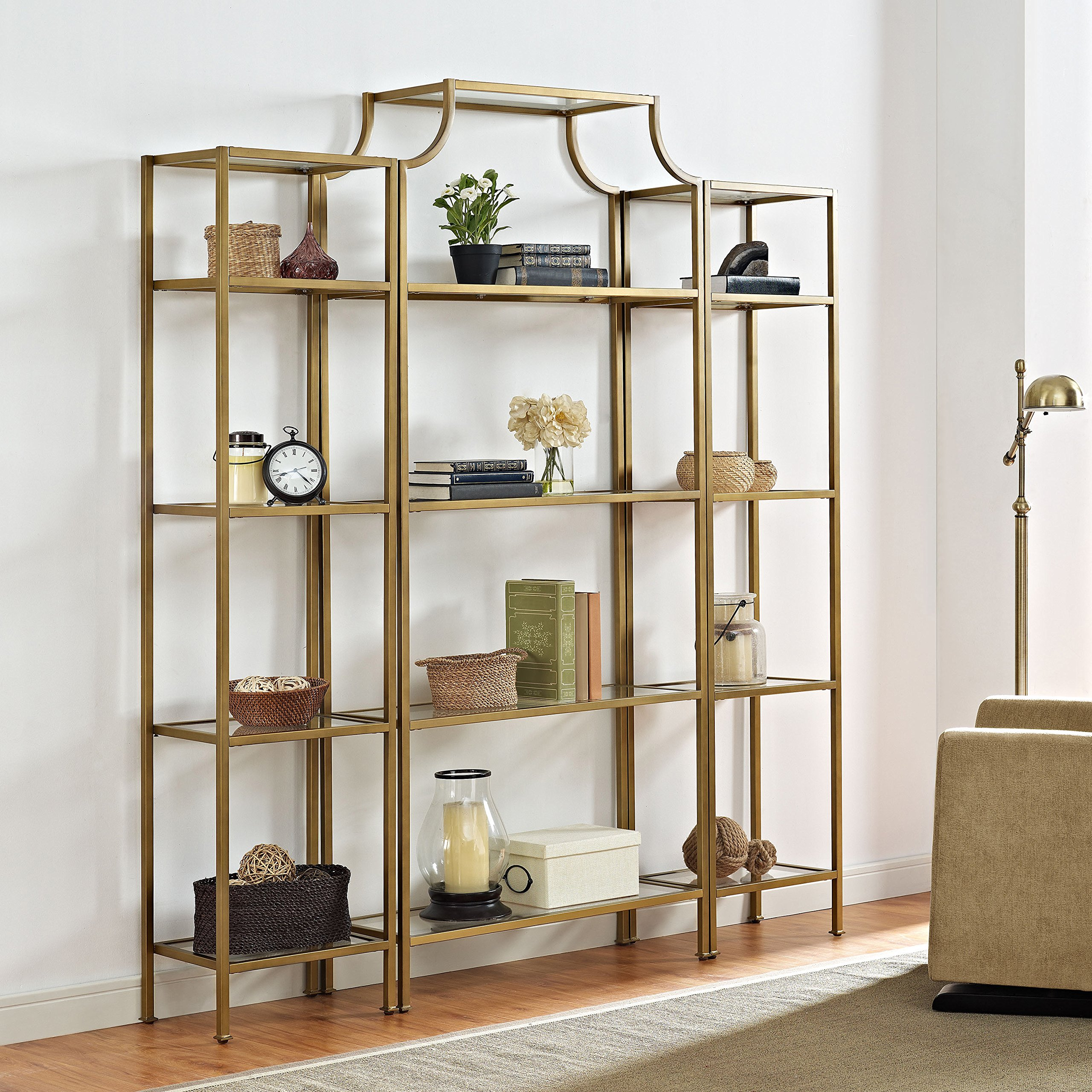 Crosley Furniture Aimee 3-Piece Etagere Bookcase Set - Gold and Glass by Crosley Furniture