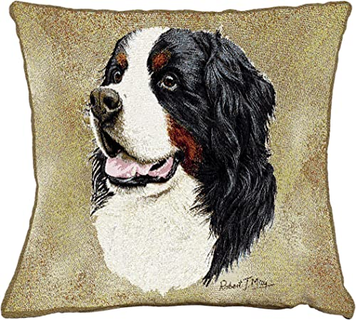 Pure Country Weavers Bernese Mountain Dog by Robert May Hand Finished Pillow Cover Woven from Cotton - Made in The USA 17x17