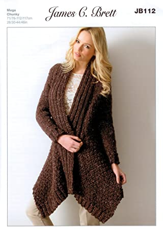 James Brett Mega Chunky Knitting Pattern - JB112 Ladies Long ...