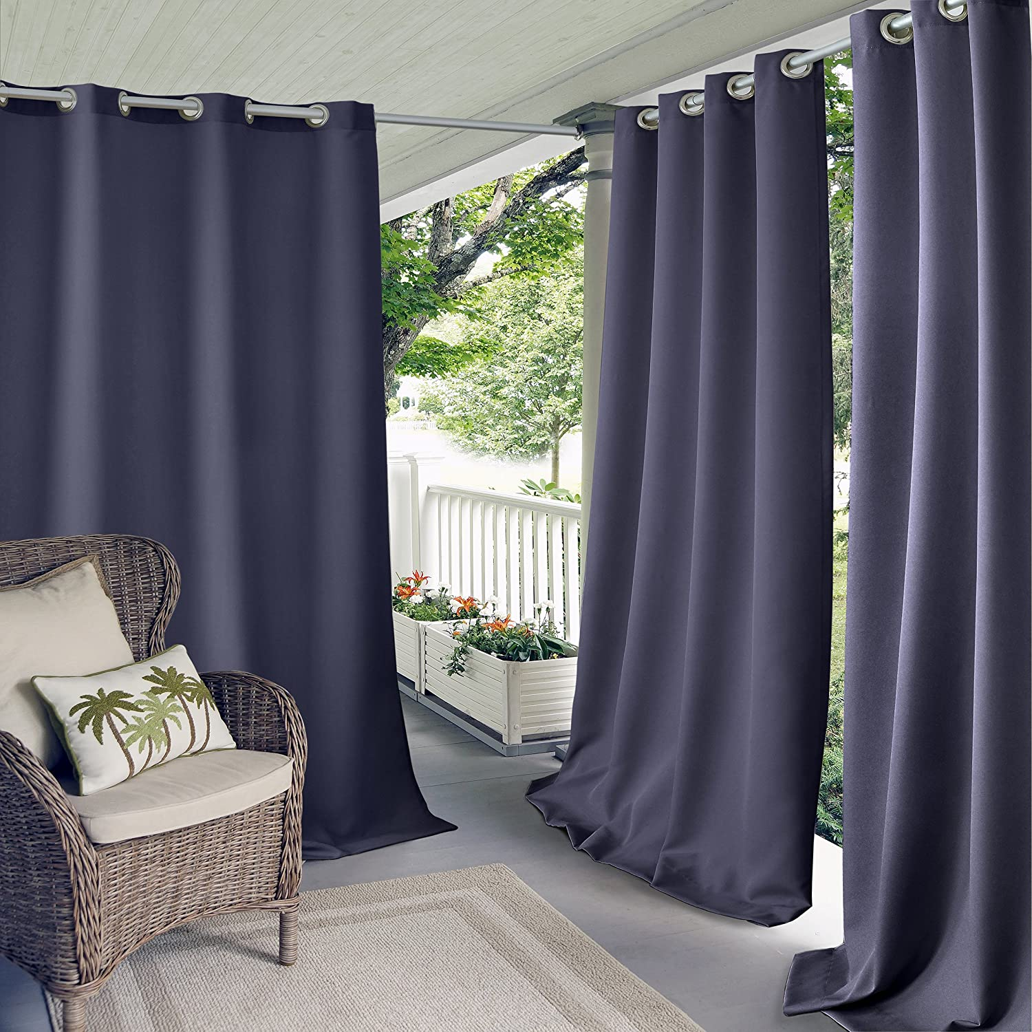 Elrene Home Fashions Solid Grommet Outdoor Window Curtain, 52x84, Lime 52x84 20864LIM
