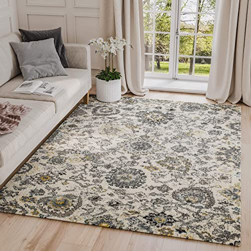 Abani Rugs Large Grey Ivory Teal Floral Distressed Traditional Area Rug Modern Style Accent, Lennox Collection Turkish Made Superior Comfort Construction Stain Shed Resistant, 8 x 10 Feet
