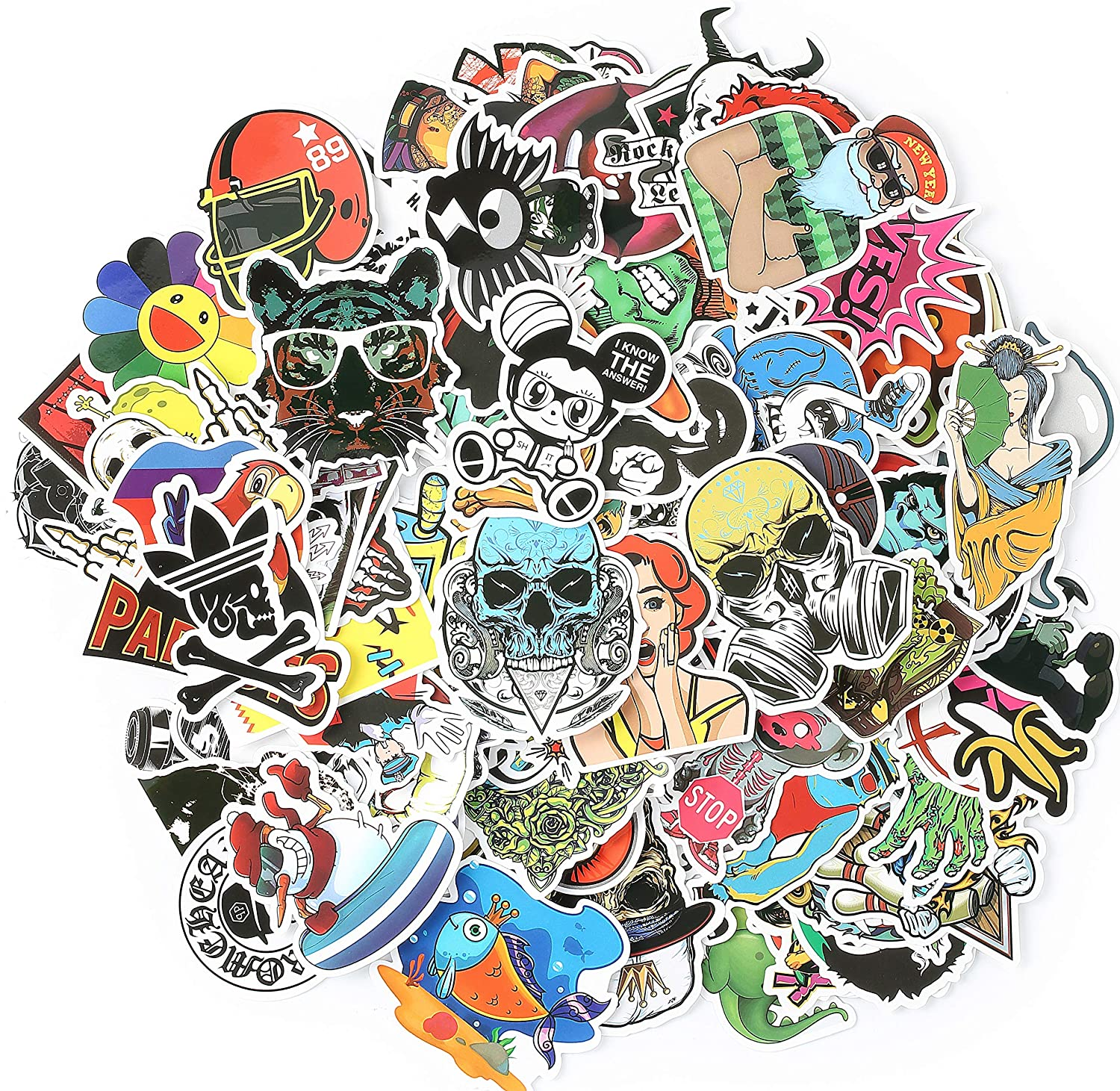Include 36Pcs//Pack Diamond Animals Style and 35Pcs//Pack Mixed Galaxy Style Luggage,Table,Refrigerator Waterproof Vinyl Decals in All Skateboard 271Pcs Graffiti Stickers for Car Laptop FYZM