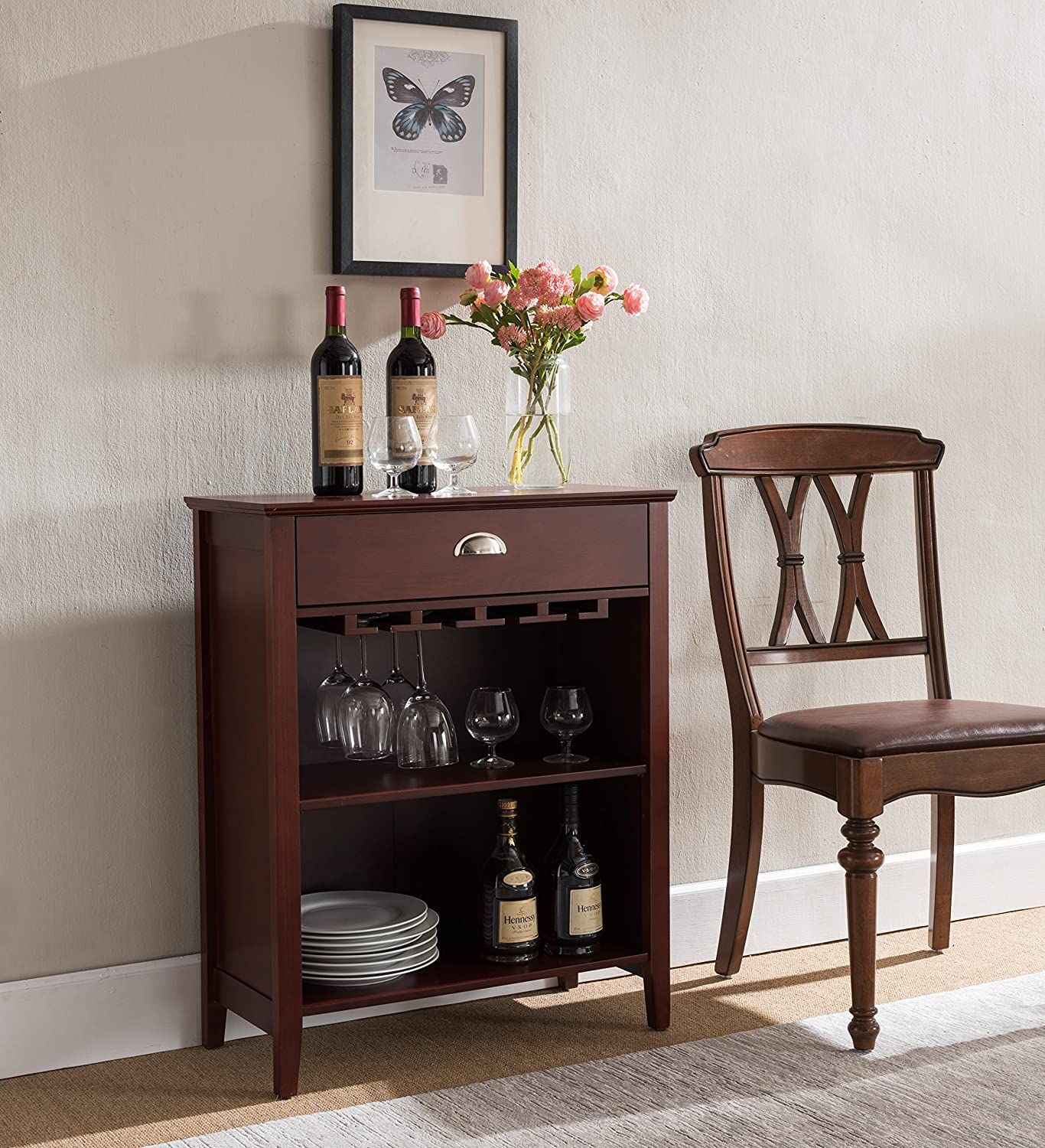 Kings Brand Furniture Dark Cherry Finish Wood Wine Buffet Storage Cabinet with Drawer WR1366