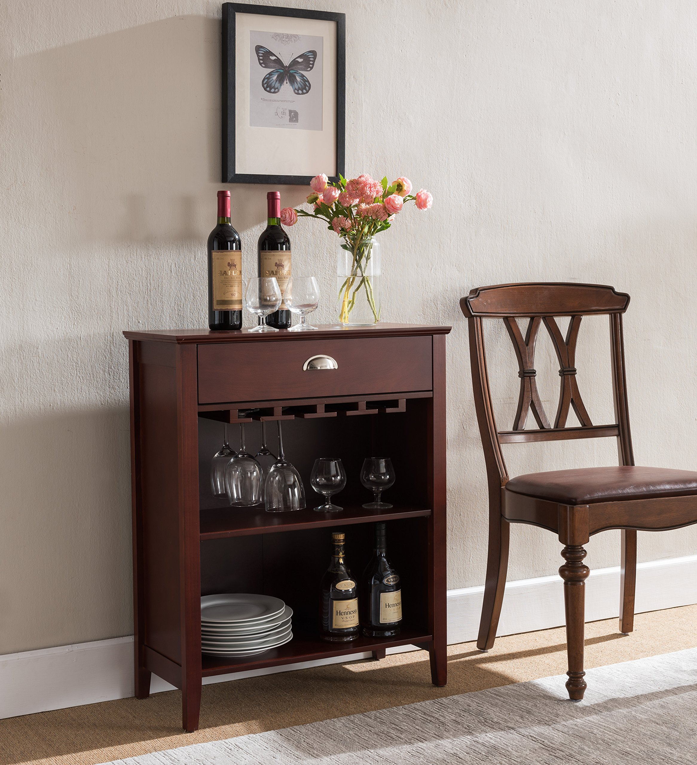 Kings Brand Furniture Dark Cherry Finish Wood Wine Buffet Storage Cabinet with Drawer by Kings Brand Furniture