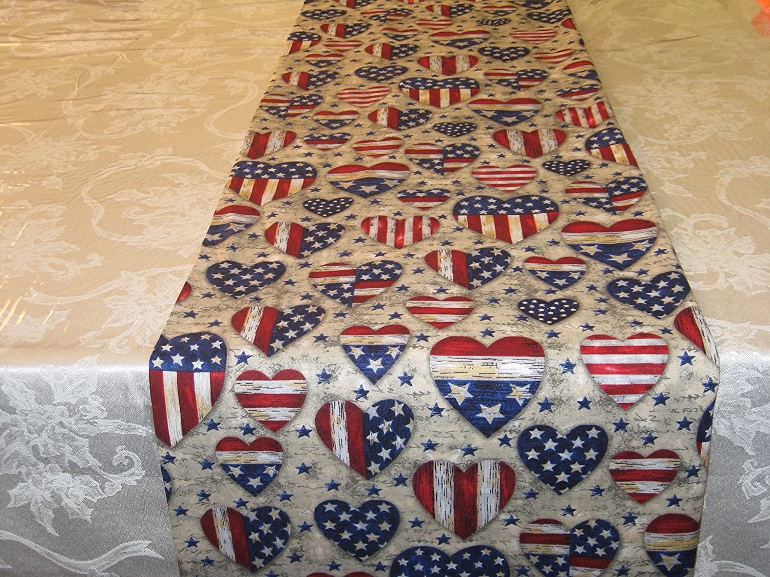 American Patriotic Heart Table Runner