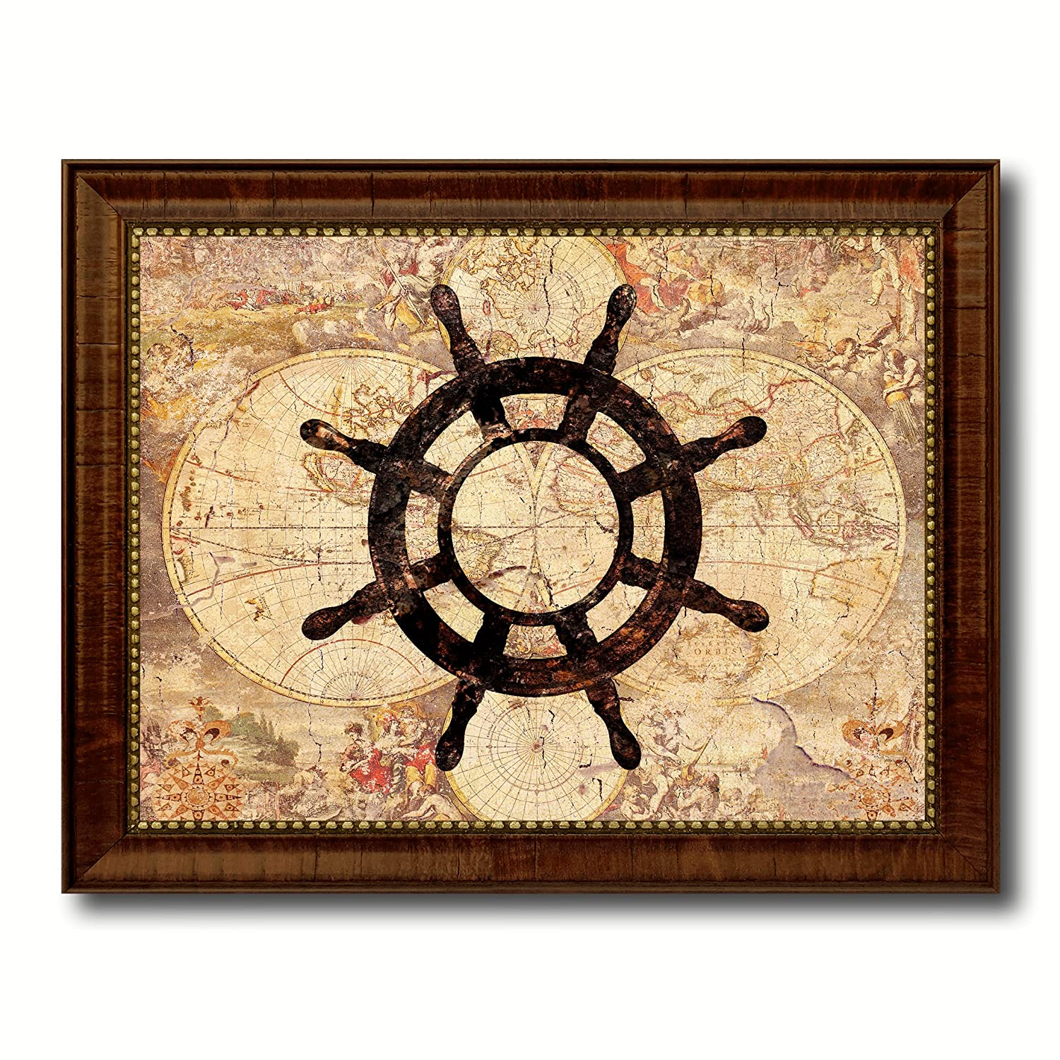 Amazon.com: Compass Nautical Vintage Map 70002 Brown Framed Canvas ...