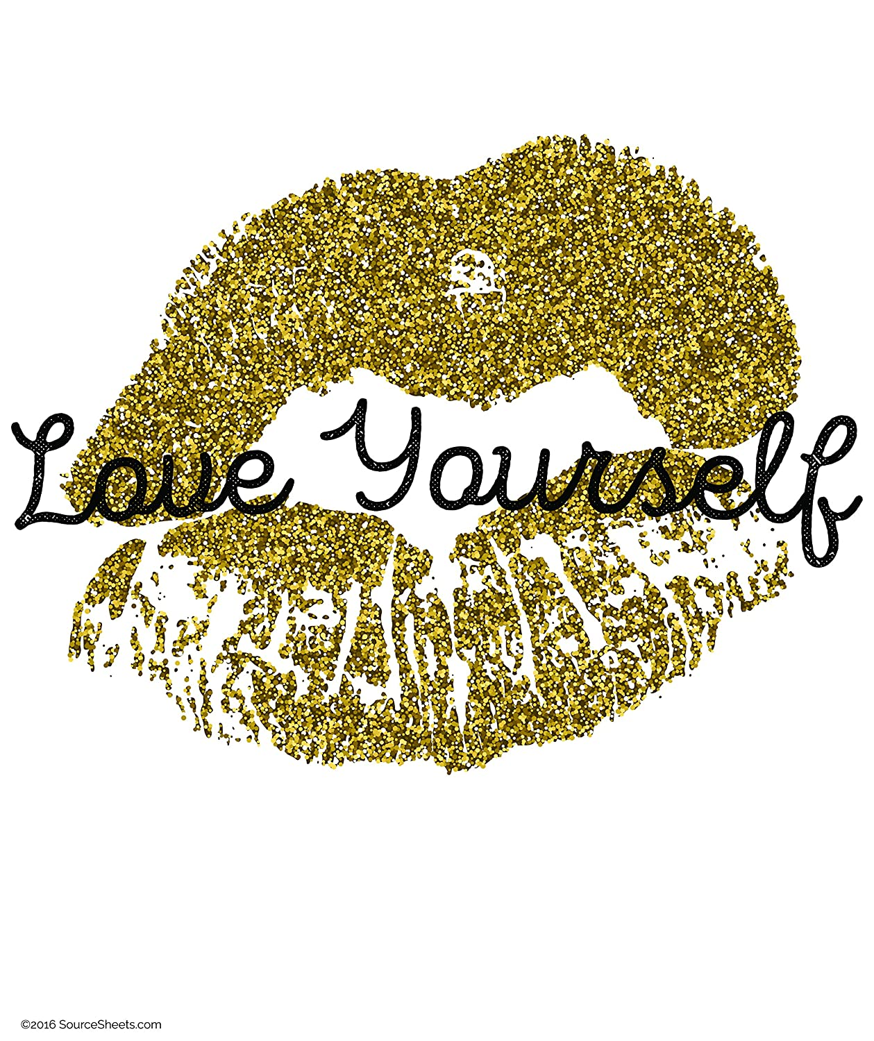 Love Yourself Poster for Teen Girls (18X24in Color Gold Wall Art for Teens)