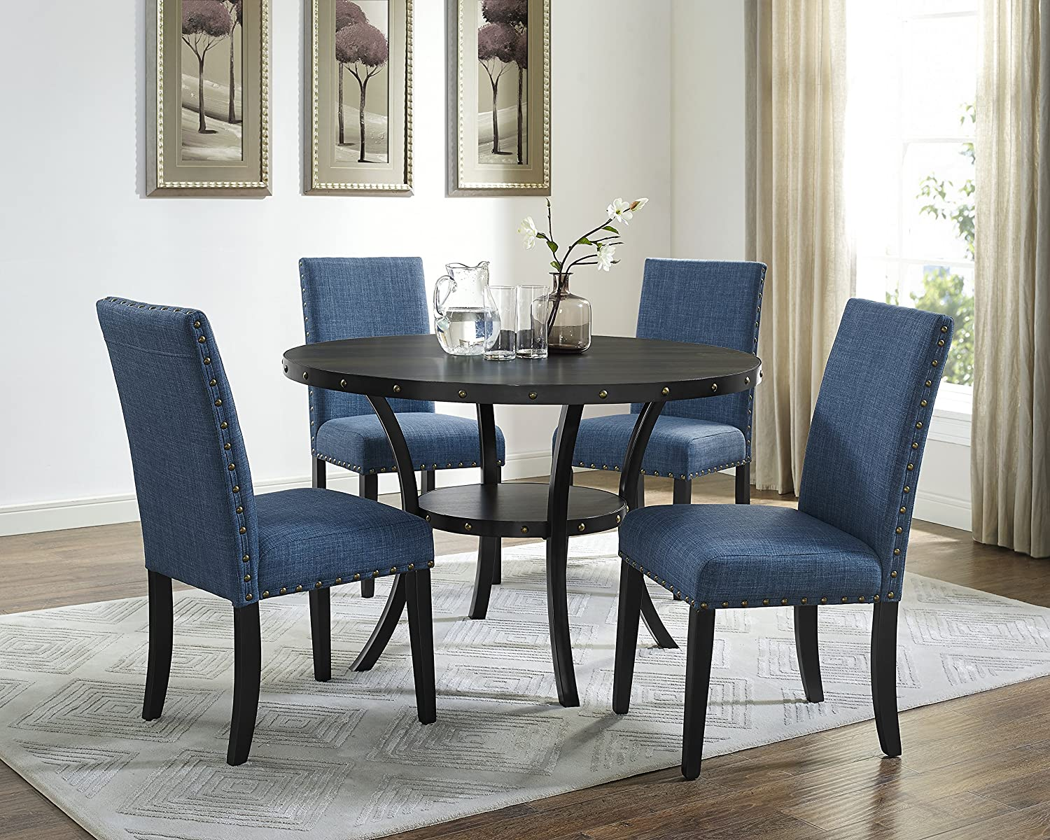 Amazon.com   Roundhill Furniture D162BU Biony Dining Collection Espresso  Wood Set With Blue Fabric Nailhead Chairs   Table U0026 Chair Sets