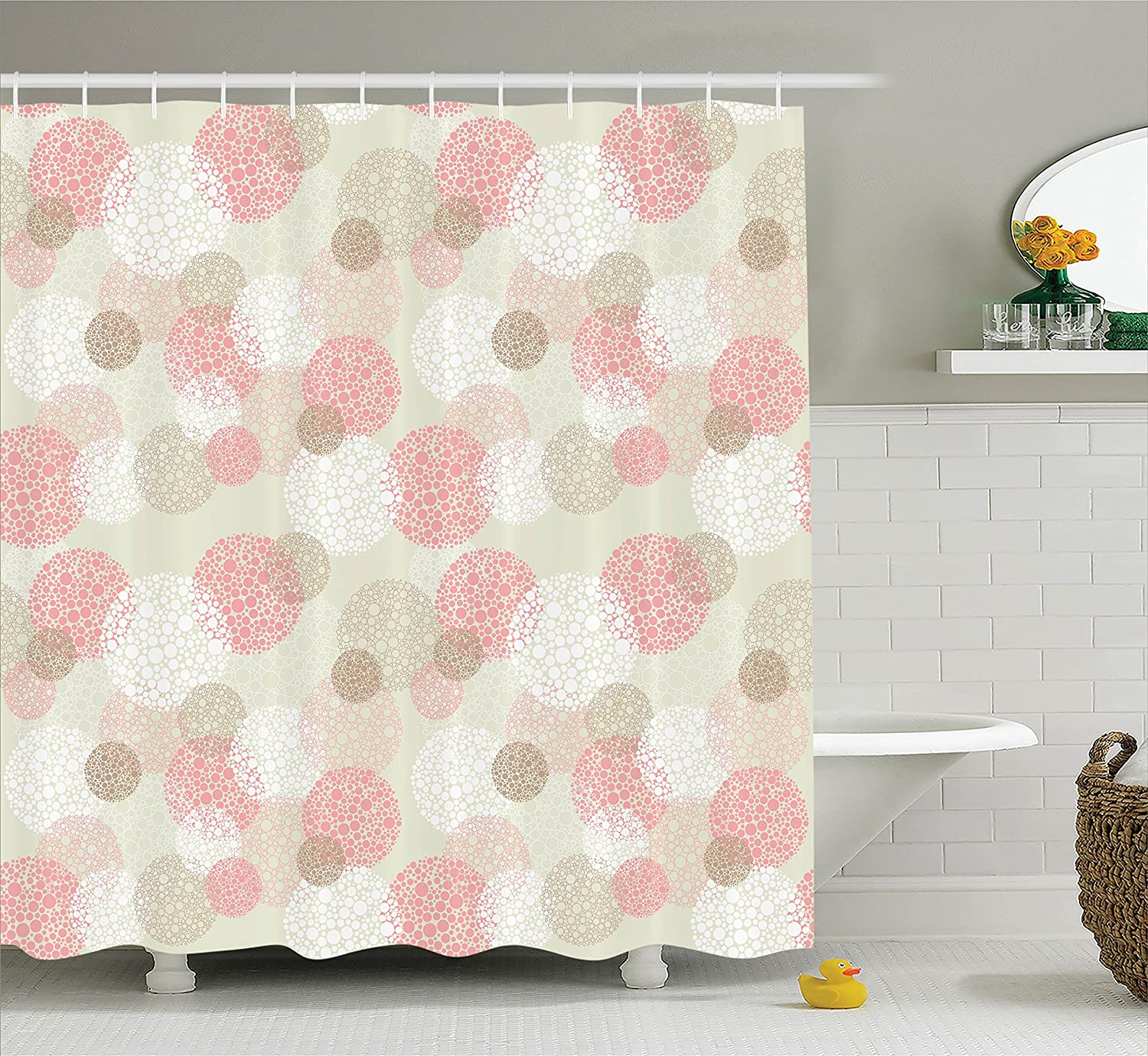 Natural Botanic Decoration with Roses Leaves and Pomegranates Romantic Image Fabric Bathroom Decor Set with Hooks 70 Inches Multicolor sc/_26512 Ambesonne Flower Decor Shower Curtain by