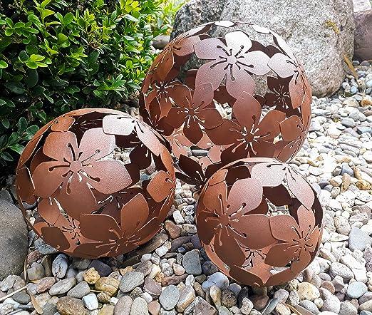 Juego de 3 bolas decorativas Jardín bolas flor Metal 10 + 15 + 20 cm Marrón Aspecto Oxidado bola bola de jardín: Amazon.es: Jardín