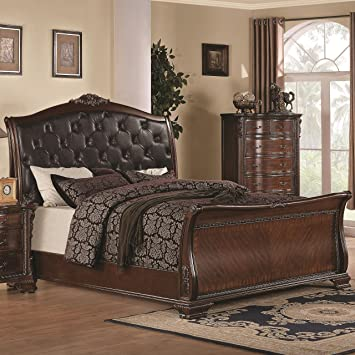 maddison california king sleigh bed w upholstered headboard - King Sleigh Bed