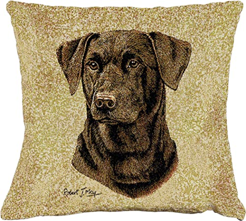 Pure Country Weavers Labrador Retriever Chocolate Lab by Robert May Hand Finished Pillow Cover Woven from Cotton – Made in The USA 17×17