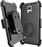 Note 4 Case Galaxy Note 4 HOLSTER Case E LV Galaxy Note 4 Case Holster Case Cover - Dual Layer Armor Defender Protective Case Cover with kickstand and Belt Swivel Clip for Samsung Galaxy Note 4 Case with 1 Stylus and 1 Screen Protector - BLACK