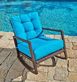 Suncrown Outdoor Furniture Teal Patio Rocking Chair | All-Weather Wicker Seat with Thick, Washable Cushions, Velcro Straps | Backyard, Pool, Porch | Smooth Gliding Rocker with Improved Stability