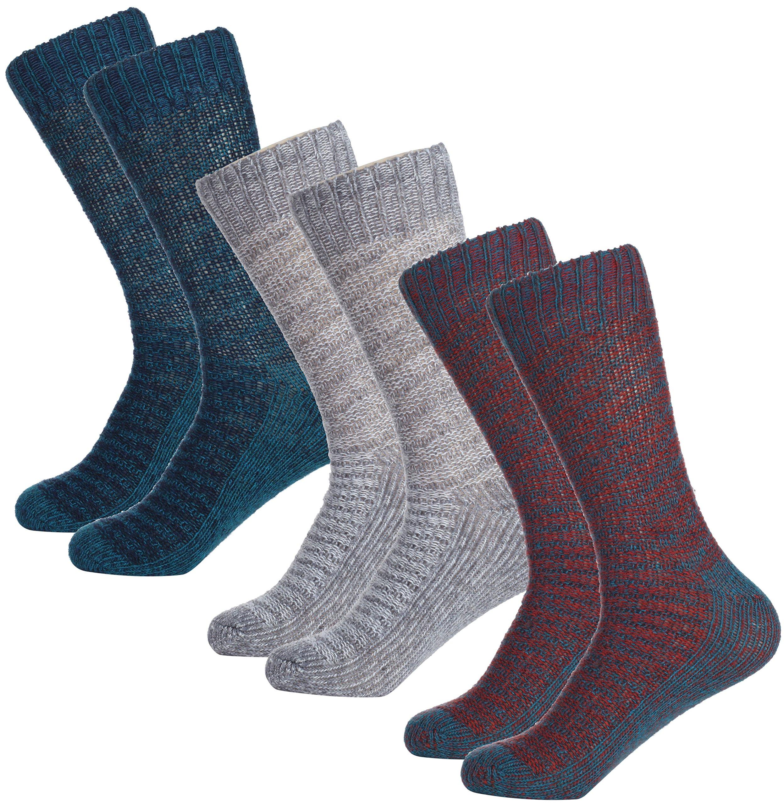 Mio Marino Women's Winter Soft Wool Socks - Cozy Warm Thick Knitted Crew Socks - 3 Pack - Gift Box