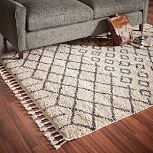 "Rivet Shag Diamond Morrocan Area Rug, 5' 3"" x 7' 11"", Cream"