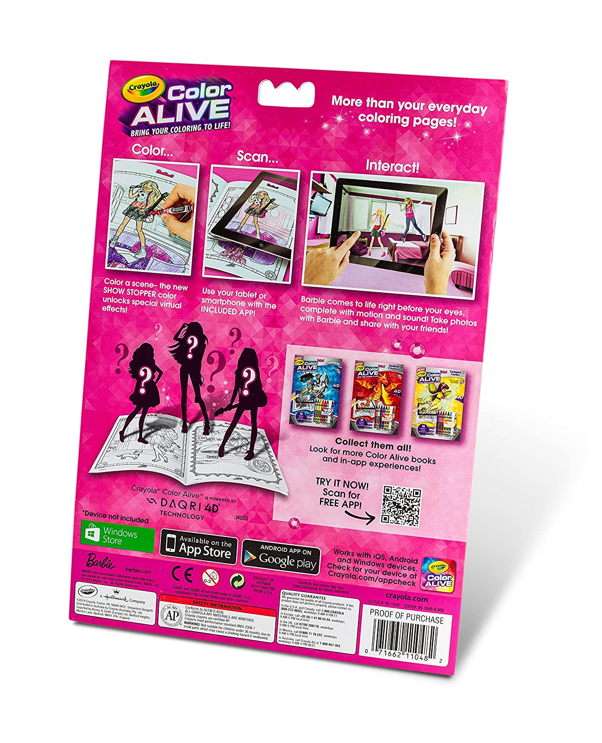 Amazon.com: Crayola Color Alive Action Coloring Pages - Barbie: Toys ...