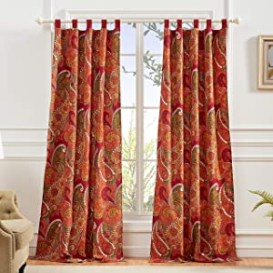Greenland Home Tivoli Curtains, Cinnamon