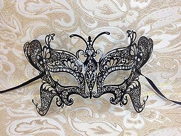 Black Butterfly Design Laser Cut Metal Masquerade Mask