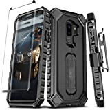 Samsung Galaxy S9 Plus Case ELV [Croco Series] Premium Holster Defender Belt Clip Rugged Case - Curved Glass Screen Protector & Kickstand for Samsung Galaxy S9 Plus (Black)