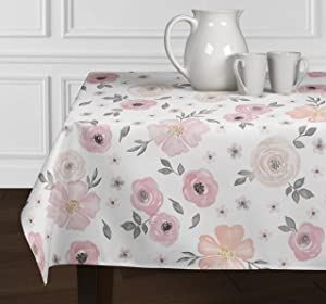 "A LuxeHome Blush Pink Grey White Shabby Chic Watercolor Rose Flower Floral Small Overlay Decorative Cover Table top Tablecloth for Dining Room and Kitchen Square 60"" x 60"""