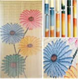 "BeadedString Bamboo Beaded Curtain-Hand Painted Natural Bamboo Wood Beaded Door Beads-Doorway Curtain-35.5"" W x80 H -90 Strands-Flowers"
