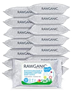 RAWGANIC Gentle Biodegradable Organic Cotton Baby Wipes, with Aloe Vera, Hypoallergenic Fragrance-Free Moist Wipes for Nappy Change, Face and Body Cleansing (Box of 15 packs)