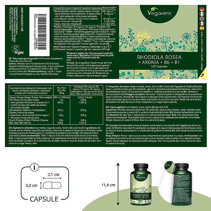 Rhodiola Rosea Vegavero® 1000 mg | FÓRMULA ÚNICA Con Aronia + Vitamina B6 + B1 | Energía + Concentración + Estrés + Antioxidante | 120 Cápsulas | 3% ...