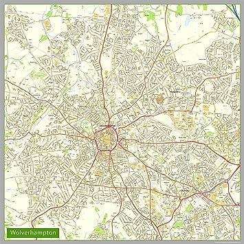 Wolverhampton Street Map Paper 160 x 160 cm Amazoncouk