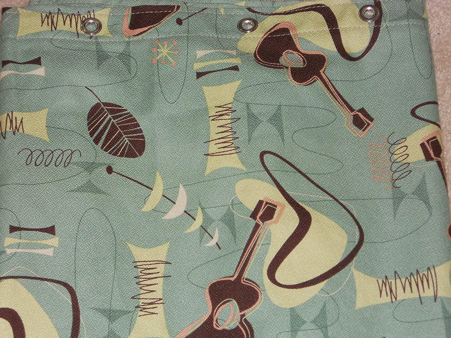 RETRO! Atomic 100% Cotton Barkcloth Fabric SHOWER CURTAIN ~Jetson-Sage~