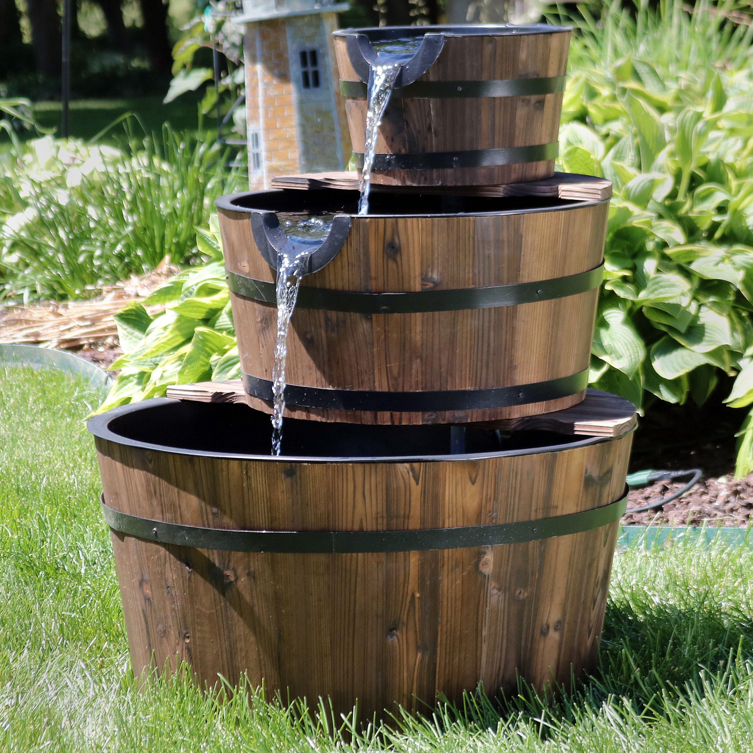 Sunnydaze Wood Barrel Water Fountain - 3-Tier Waterfall ...