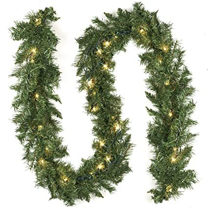 9 foot artificial garland christmas decorations pre strung clear lights soft green holiday decor wedding