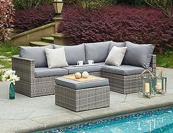 Salon de jardin 4 pièces en rotin - ensemble canapé d\'angle pour ...