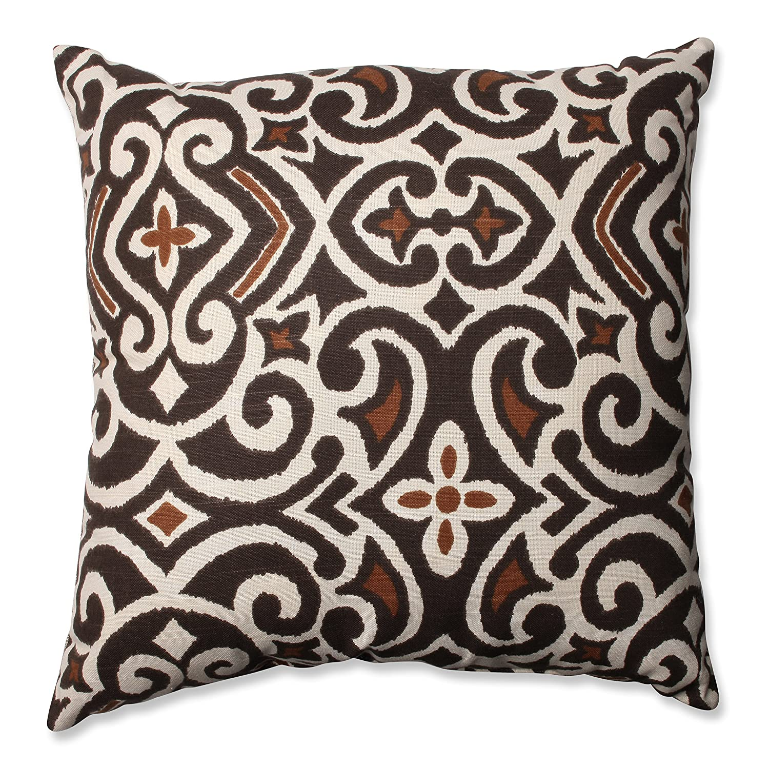 Amazon Pillow Perfect Brown Beige Damask 18 Inch Throw Pillow
